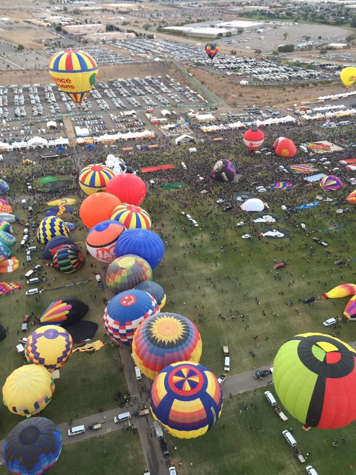 "New Mexico Chapter says ""When they go low, you go High""..........Yes High as in up up and away up in a beautiful Balloon as members Nancy & Molly of Hunt. Beach fly high above Alburquerque's Balloon Festival Field as they immerse themselves in the Festivities..........."