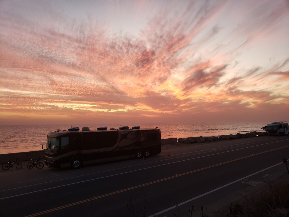 Tonight's sunset while camping along the Ventura California Coast line on Rincon Parkway