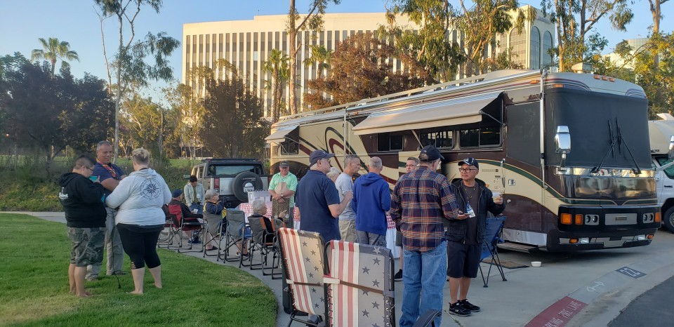 Ed Wilson, Greg & Dennis Nieva serving up some meatball sandwiches for the Rainbow RV group here at the Long Beach Pride