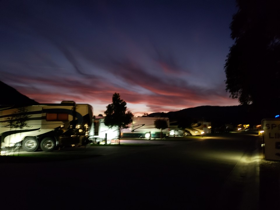 A spectacular sunset here at Pala Casino to end a spectacular Rainbow RV Christmas Rally.......It will hard to break away from this beautiful RV Park setting.......