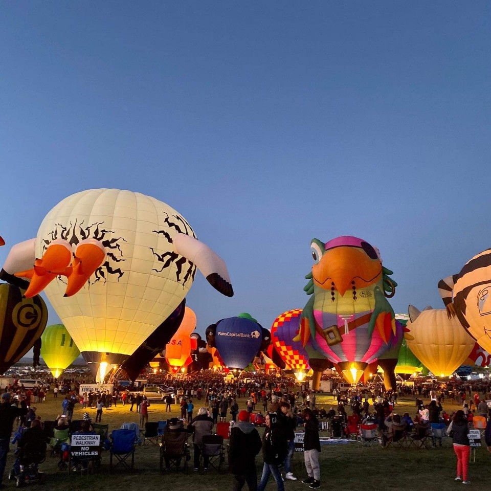 The Albuquerque New Mexico Balloon glow begins with beautiful themed hot air balloons
