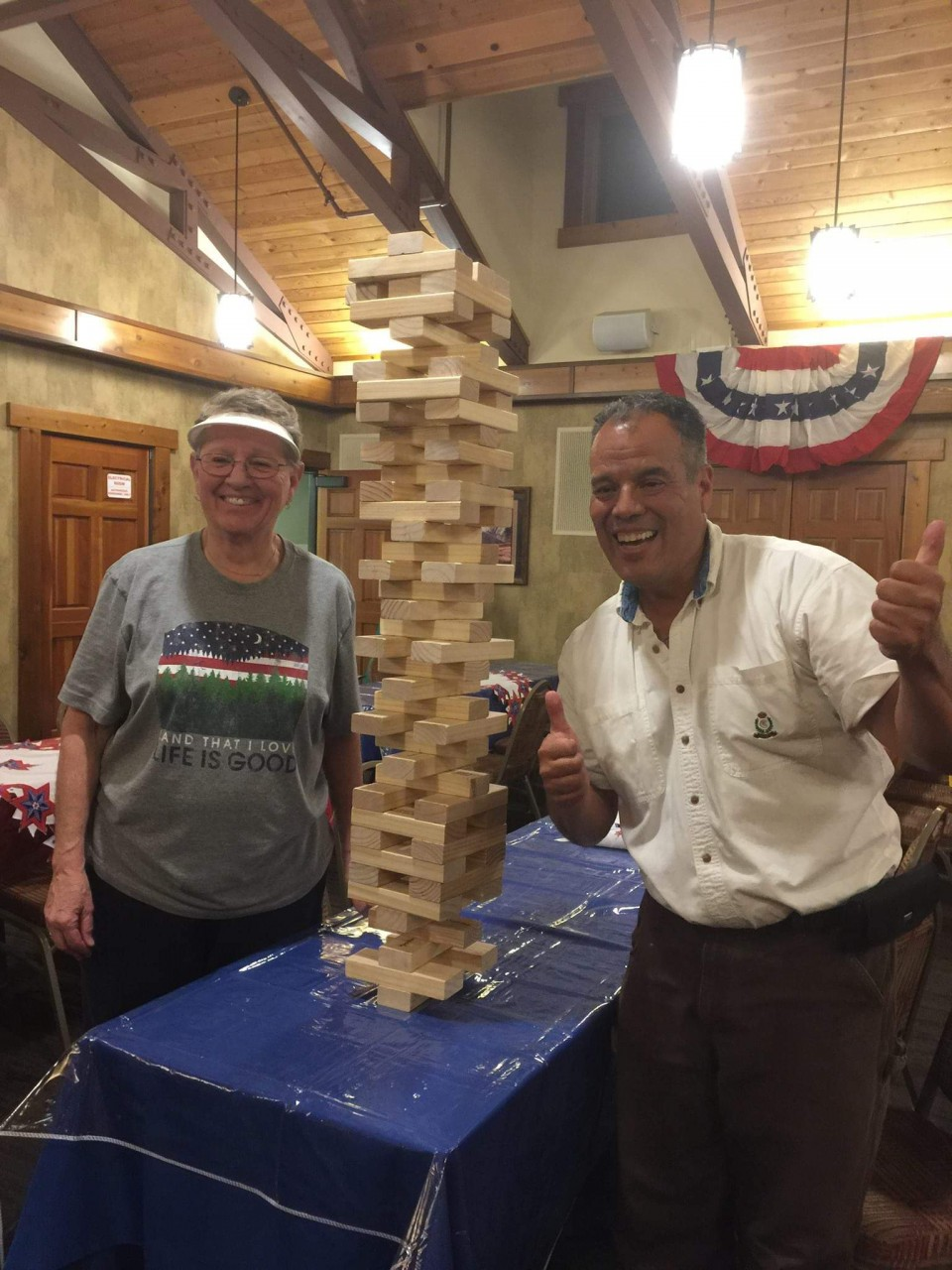 40 stories of Jenga blocks with my buddy Jackie Schalberg and it still didn't tip over here at the Rainbow RV Jackson Presidents Rally...........