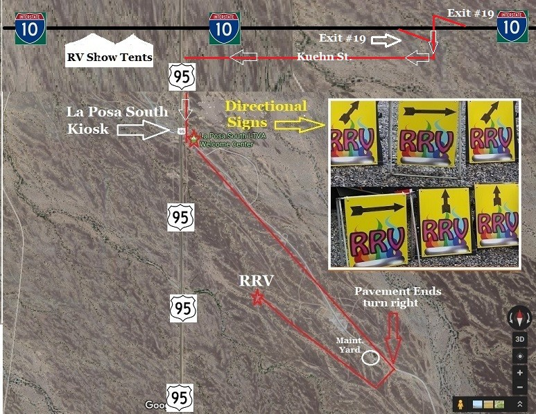 We have provided a better Map for the upcoming Rainbow RV Quartzsite Rally & Approximate GPS Coordinate Location of Rainbow RV Rally Group Las Posa South & Satellite View of our Approximate Location Approximate GPS Co-Ordinates N 33 Degrees 36.696, & W 114 Degrees 11.992. Hope this helps a little bit better