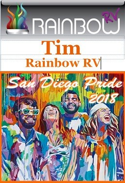 """The California Chapter of Rainbow RV is ready to unveil this year's name tag design for the San Diego Pride Rally. This year's inspiration comes from the diverse group of creative people who attend the festival. We come together as """"1"""" to celebrate our colorful diversity on a weekend of festivities held in beautiful San Diego's Hillcrest Community at Balboa Park. Come along and help us Celebrate!"""