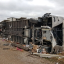 """December 26, 2015.  The sun was long gone, winds were steady, then it went totally quiet.  Matt stepped outside to check the weather and shouted """"grab the dogs and lets get out"""" as he watched an approaching tornado.  The campground was destroyed and our three-month old beautiful coach was left in shambles."""