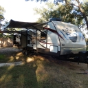 We started our adventures from Texas home base with a beautiful Hill Country 34' travel trailer.  Alas, after a few trips we realized we had made the wrong decision and a Class A would serve us better.