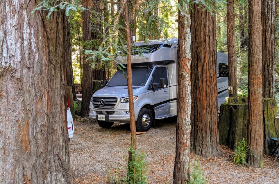 Our site at Cotillion Gardens RV Park just east of Santa Cruz.  Beautiful area where the redwoods are within miles of the beautiful Monterrey Bay.  Looking forward to gathering at Pismo in a few weeks,